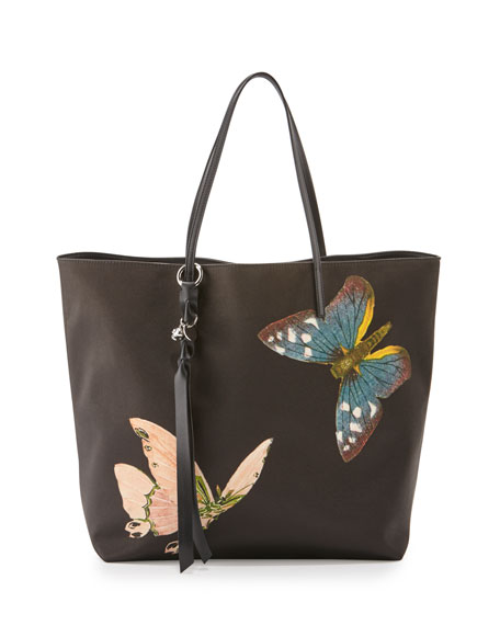 Butterfly Satin Skull Tote Bag, Black/Multi
