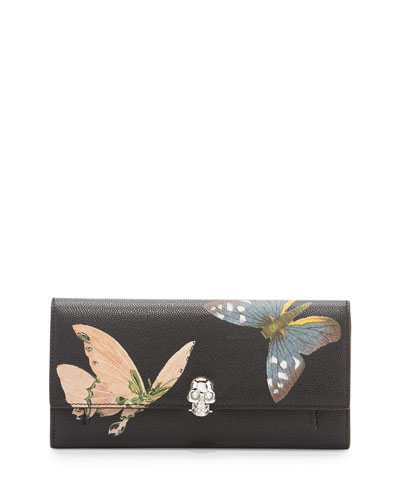 Butterfly Leather Skull Wallet-On-Chain, Black/Multi
