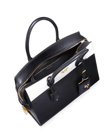 fe0412c3242e28 Prada Esplanade Medium Bicolor City Satchel Bag, Black/White (Nero/Bianco)