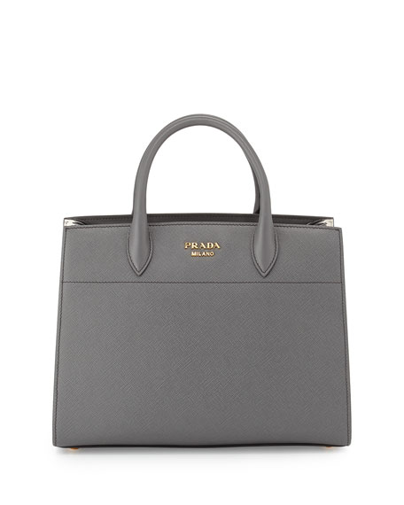 Bibliothèque Medium Saffiano Top-Handle Tote Bag, Dark Gray/White (Mecurio/Talco)
