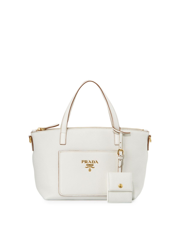 6cdde37abc03 Prada Small Vitello Daino Tote Bag, White (Bianco) | Neiman Marcus