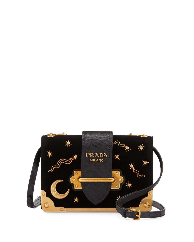 12266f1a5bc3 Prada Cahier Astrology Velvet Shoulder Bag, Black (Nero) | Neiman Marcus