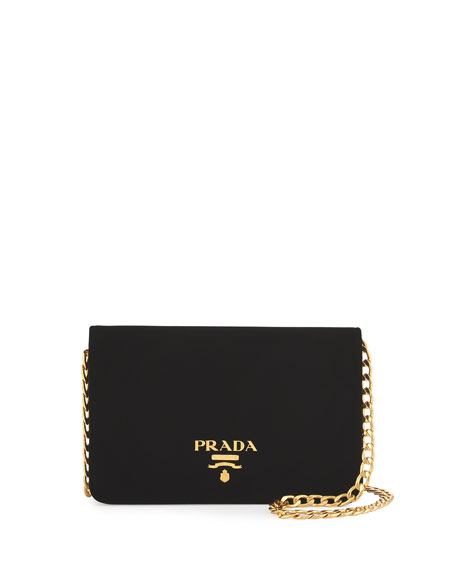 Velvet Chain Shoulder Bag, Black (Nero)
