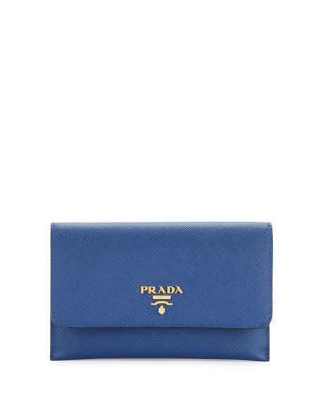 Prada Saffiano Wallet/Card Case, Blue (Bluette)