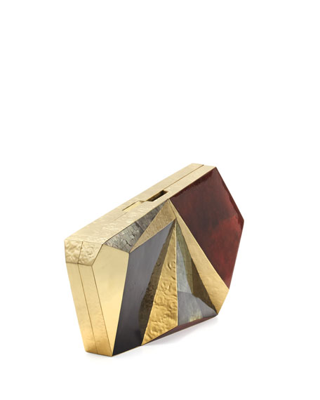 Azura Asymmetric Minaudiere, Red/Black/Gold