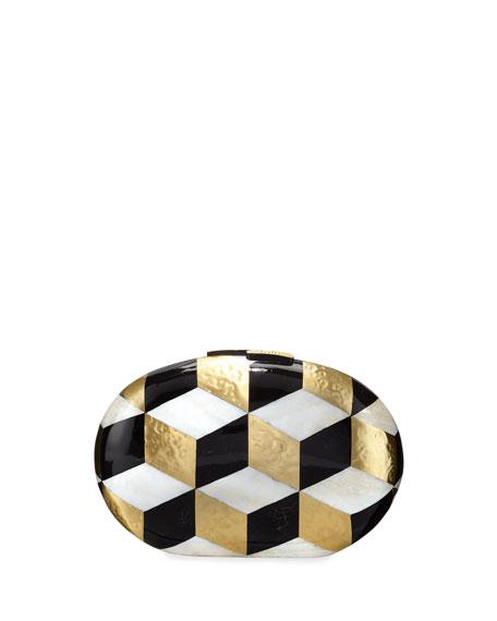 Rafe Liz Geometric Oval Minaudiere, Black/White/Gold