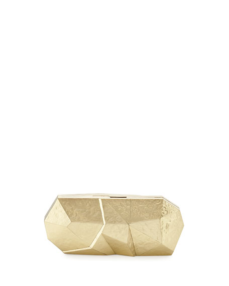 Rafe Maryanne Faceted Minaudiere, Gold