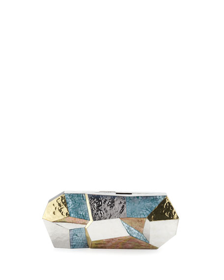 Maryanne Faceted Minaudiere, Blue/Multi