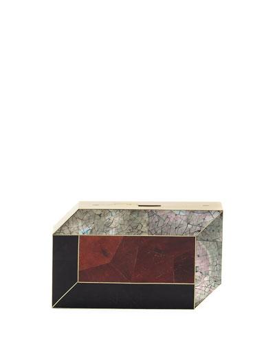 Pia Geometric Shell Minaudiere, Black/Red