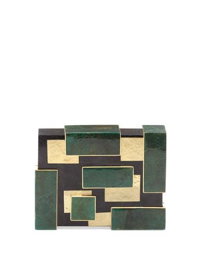 Ramya Cubist Minaudiere, Green/Black/Gold