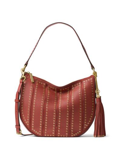 Brooklyn Medium Grommet Convertible Hobo Bag, Brick