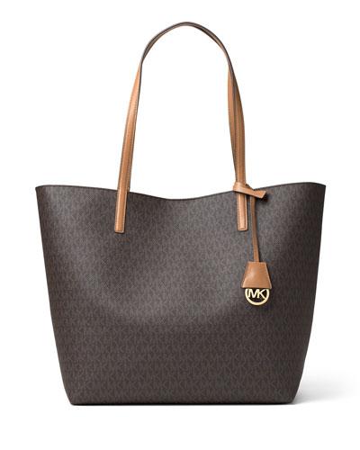 Hayley Large East-West Logo-Print Tote Bag, Brown/Peanut