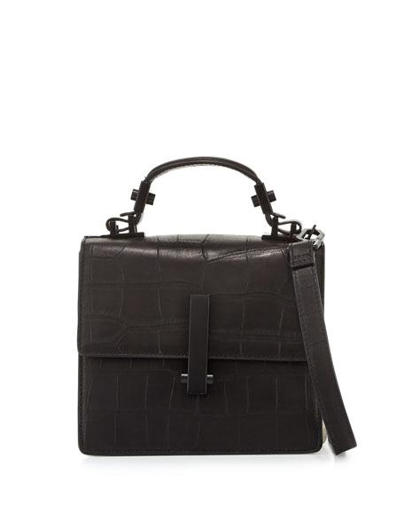 Kendall+KylieMinato Mini Crocodile-Embossed Top-Handle Bag,