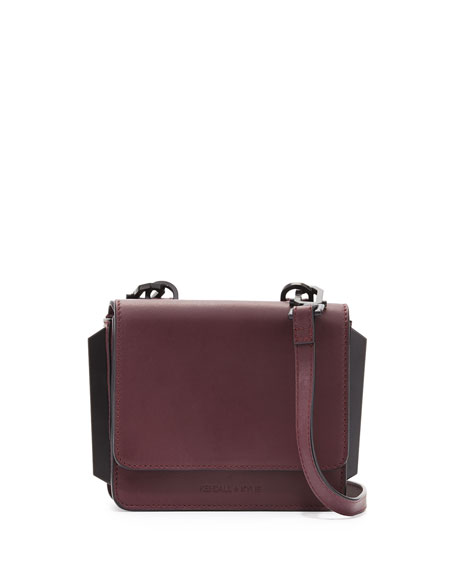 Kendall+Kylie Baxter Mini Leather Crossbody Bag, Red Plum