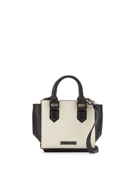 Brook Mini Leather Satchel Bag, Ivory/Black