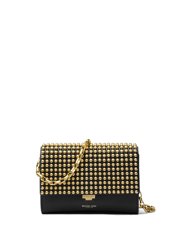 ee8614f7cee4 Michael Kors Yasmeen Small Studded Clutch Bag, Black/Gold | Neiman ...