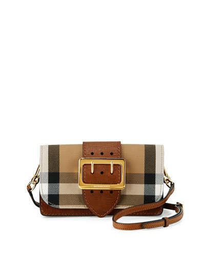 Small Buckle House Check & Leather Shoulder Bag, Tan