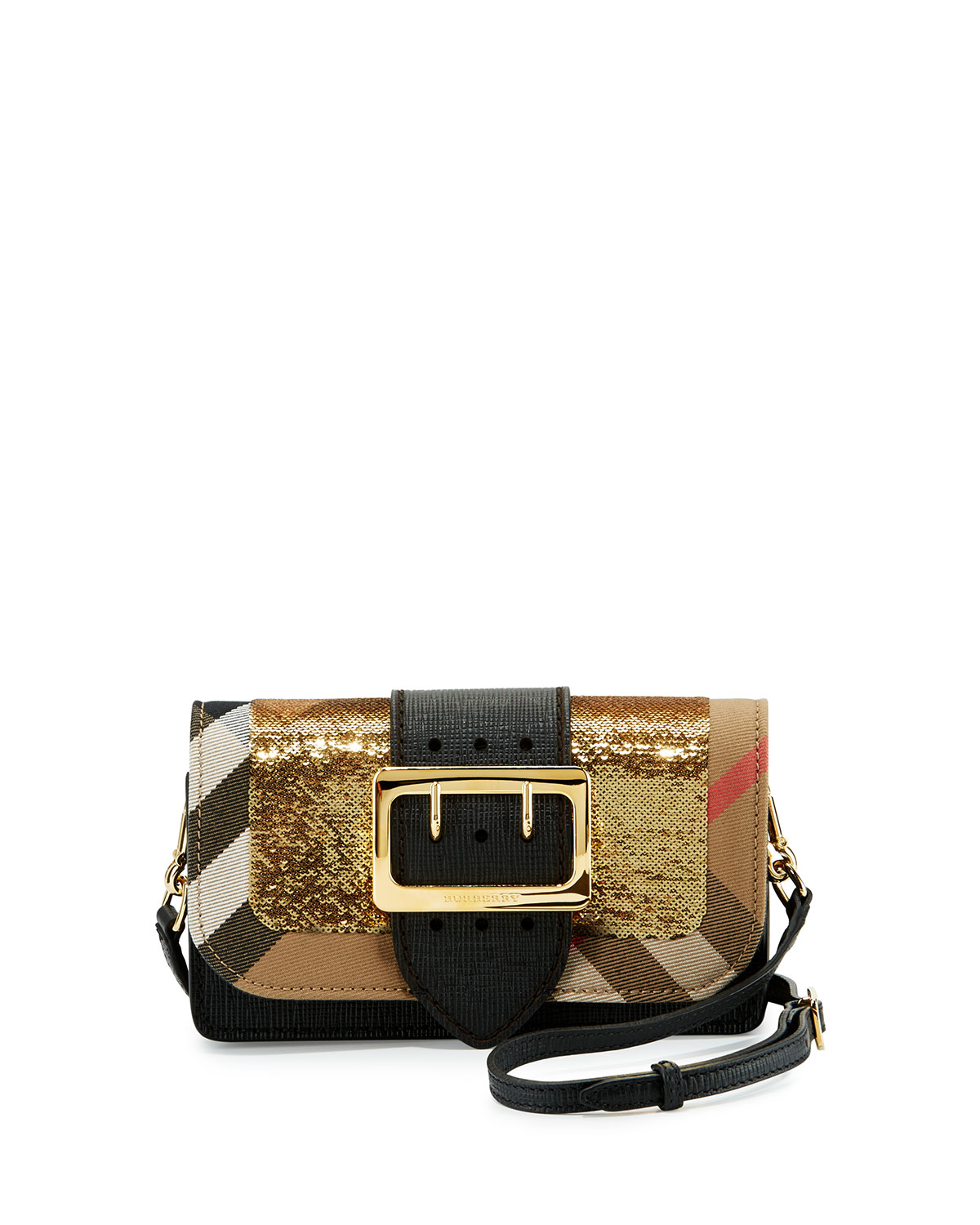 a56dca34bcec Burberry Small Buckle Sequined House Check Shoulder Bag