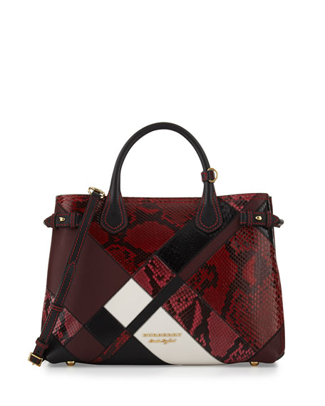 Burberry Banner Medium Patchwork Python Tote Bag, Pink