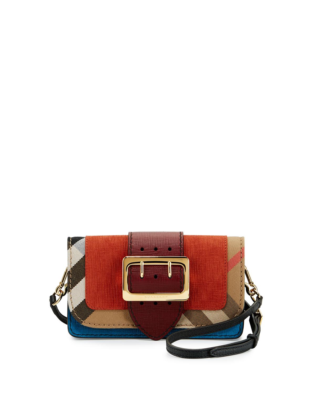 66e65ccd002e Burberry Small Buckle Suede   House Check Shoulder Bag