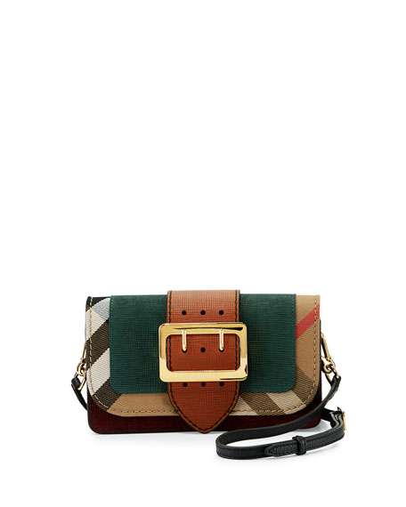Small Buckle Suede & House Check Shoulder Bag, Sea Green