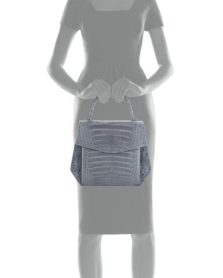 Crocodile Large Structured Top-Handle Bag
