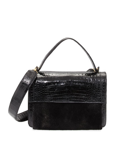 Crocodile Guitar-Strap Top-Handle Bag, Black