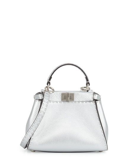 Peekaboo Mini Satchel Bag, Silver