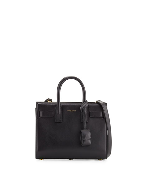 Saint Laurent Sac de Jour Nano Leather Satchel Bag, Black