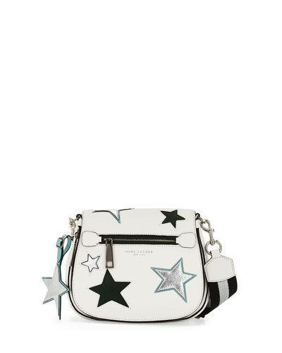 Star Patchwork Small Saddle Bag, Star White/Multi