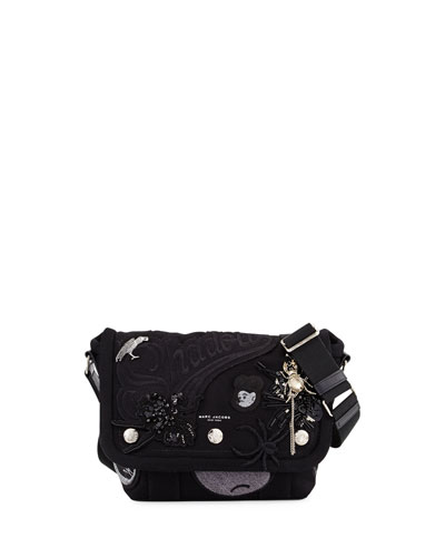 Rummage Small Embellished Messenger Bag, Black