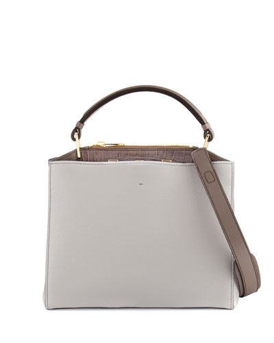 Seven Vitello & Crocodile Satchel Bag, Gray