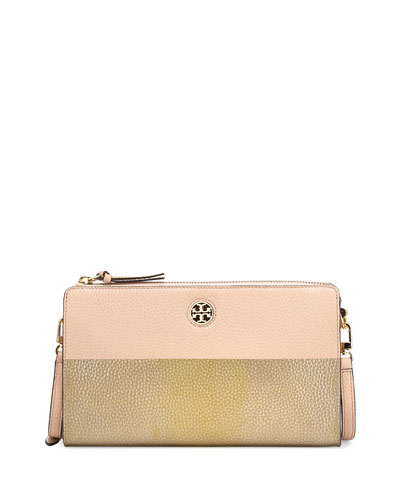 Perry Colorblock Wallet Crossbody Bag, Light Oak/Gold