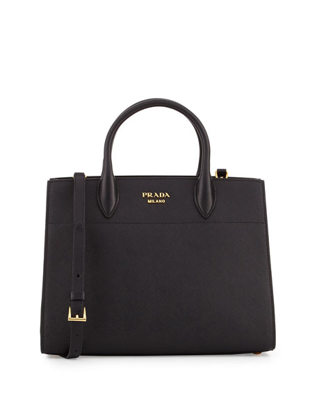 Prada Biblioth??que Medium Saffiano Top-Handle Tote Bag, Black
