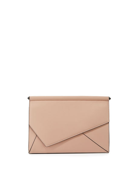 Ginza Leather Clutch Bag, Rose Cloud