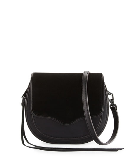 Suki Mini Suede & Leather Saddle Bag, Black