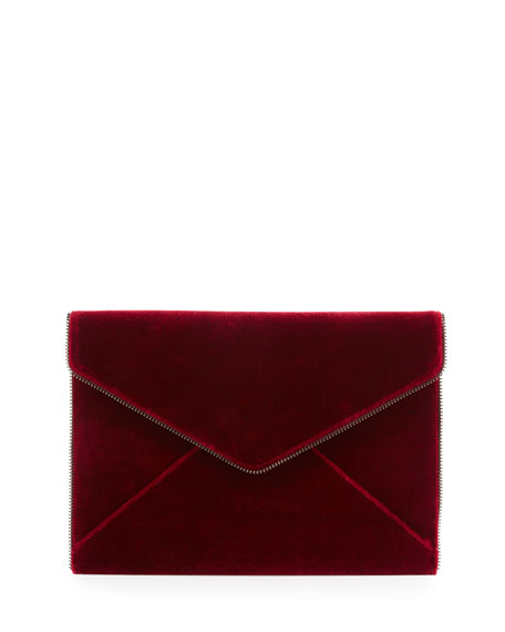 Leo Velvet Envelope Clutch Bag, Soft Berry