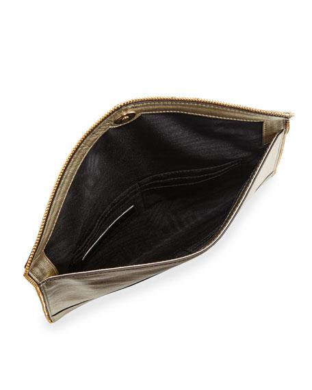 Rebecca Minkoff Leo Metallic Envelope Clutch Bag, Metallic Gold