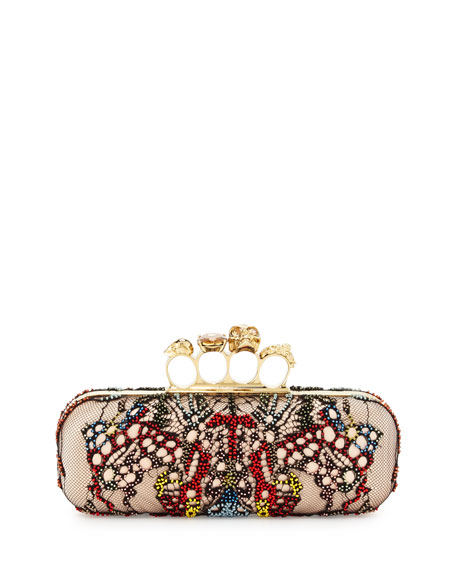 Lace-Butterfly Knuckle Box Clutch Bag, Black/Multi