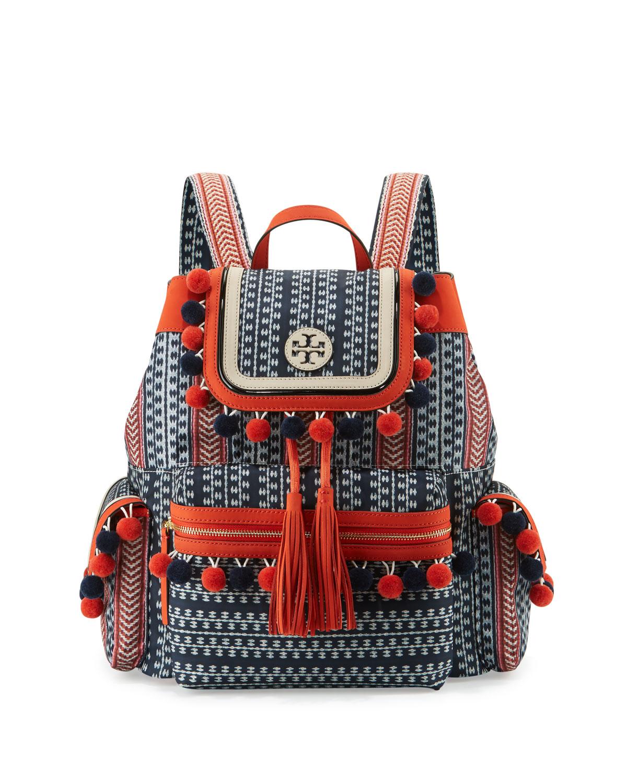 d73af4ea47c8 Tory Burch Scout Pompom Woven Backpack