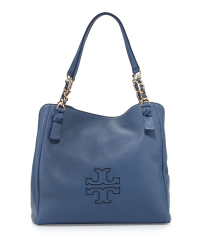 Harper Center-Zip Leather Tote Bag, Blue