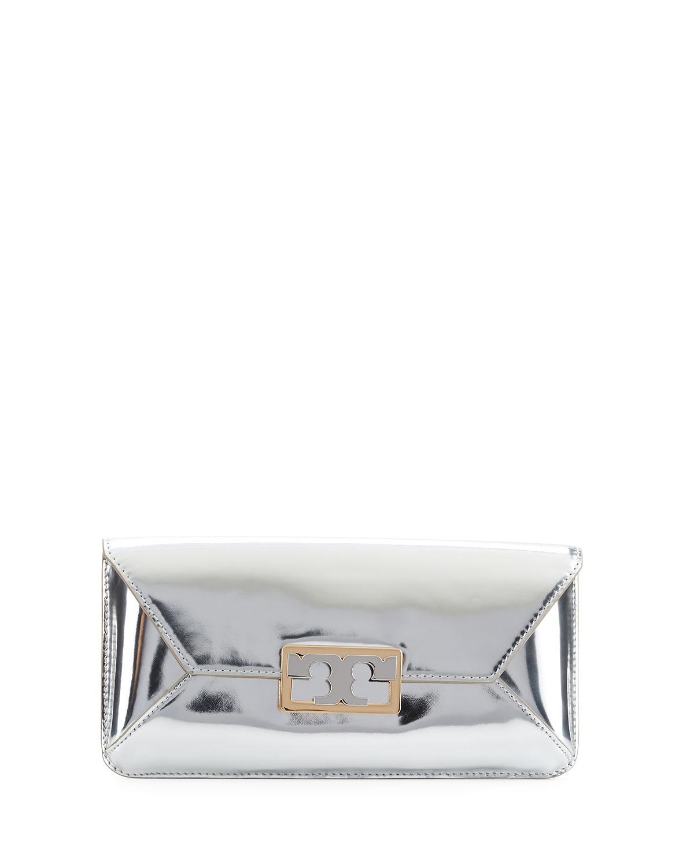 81707e597f8 Tory Burch Gigi Metallic Clutch Bag