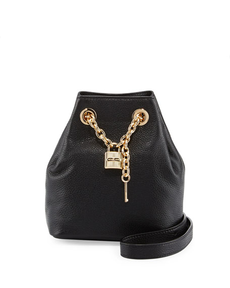 Hadley Medium Leather Messenger Bag, Black