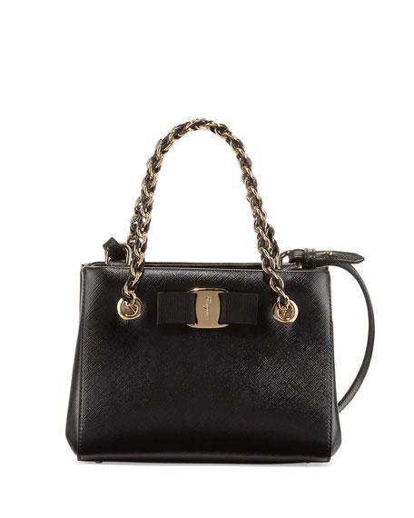 Salvatore Ferragamo Melike Mini Leather Crossbody Bag, Nero