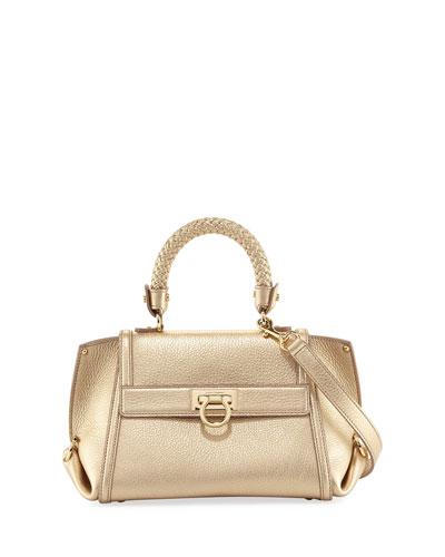 c54c40651e Salvatore Ferragamo Sofia Small Metallic Leather Satchel Bag