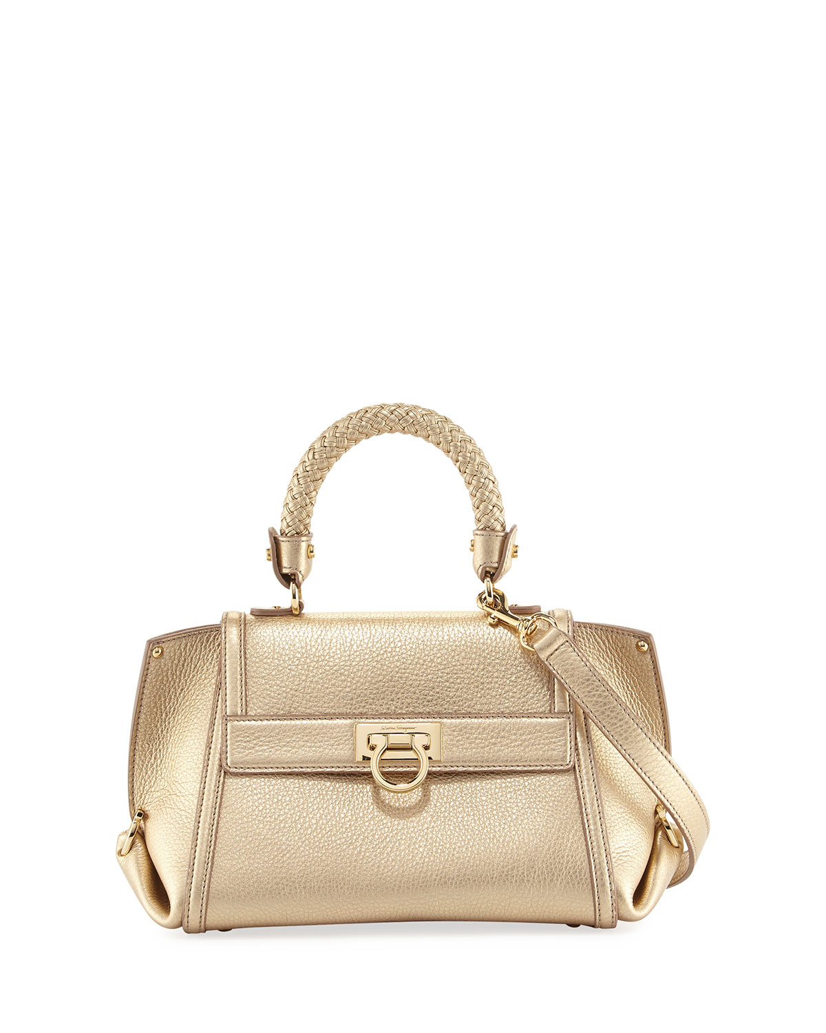 c54c40651e Salvatore Ferragamo Sofia Small Metallic Leather Satchel Bag