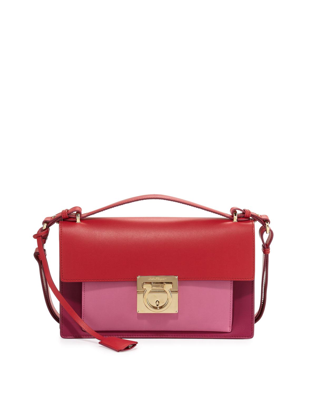 4afe75727dab Salvatore Ferragamo Aileen Colorblock Leather Shoulder Bag