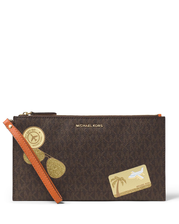 73061d38250a MICHAEL Michael Kors Illustrations Fly Away Large Zip Clutch Bag ...