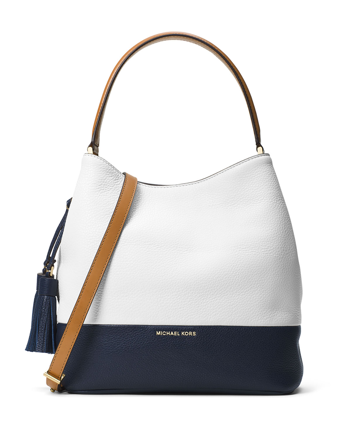 41601bd7f7f2 MICHAEL Michael Kors Kip Large Colorblock Leather Bucket Bag, Optic  White/Admiral/Luggage