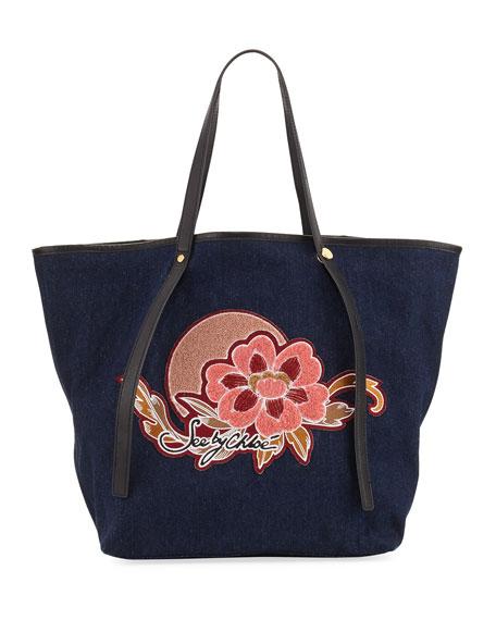 Andy Floral Denim Tote Bag